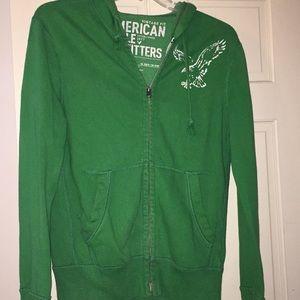 Green American Eagle Zip Up Hoodie